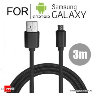 3m Nylon Braided Micro USB Charging Cable Cord for Samsung Galaxy Note LG Android HTC Black Colour