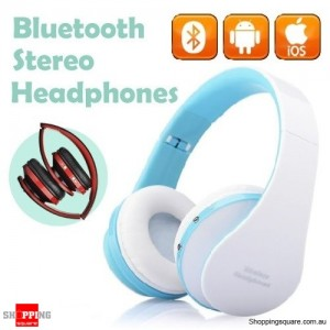 Foldable Wireless Bluetooth Handsfree Stereo Headset Headphones Earphones with Mic For iPhone Blue Colour