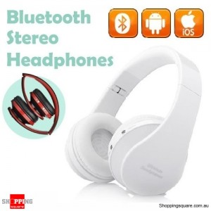 Foldable Wireless Bluetooth Handsfree Stereo Headset Headphones Earphones with Mic For iPhone White Colour
