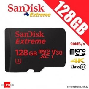 SanDisk Extreme 128GB microSD microSDXC UHS-I U3 TF Memory Card 90MB/s 4K UHD V30 A1