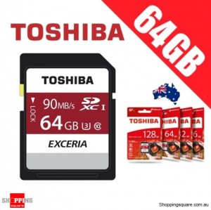 Toshiba Exceria 64GB SDHC SDXC Memory Card UHS-I U3 4K FHD Up to 90MB/s