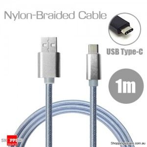 1m Nylon Braided USB Type C Charging Cable for Google Pixel Nexus 5X LG G5 Nokia N1 HTC 10 Silver Colour