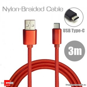 3m Nylon Braided USB Type C Charging Cable for Google Pixel Nexus 5X LG G5 Nokia N1 HTC 10 Red Colour