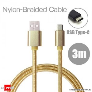 3m Nylon Braided USB Type C Charging Cable for Google Pixel Nexus 5X LG G5 Nokia N1 HTC 10 Gold Colour