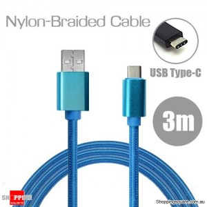 3m Nylon Braided USB Type C Charging Cable for Google Pixel Nexus 5X LG G5 Nokia N1 HTC 10 Blue Colour