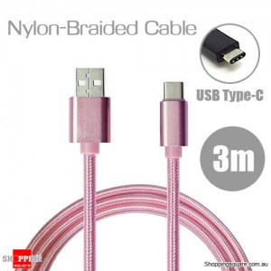 3m Nylon Braided USB Type C Charging Cable for Google Pixel Nexus 5X LG G5 Nokia N1 HTC 10 Pink Colour