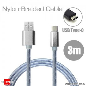 3m Nylon Braided USB Type C Charging Cable for Google Pixel Nexus 5X LG G5 Nokia N1 HTC 10 Silver Colour