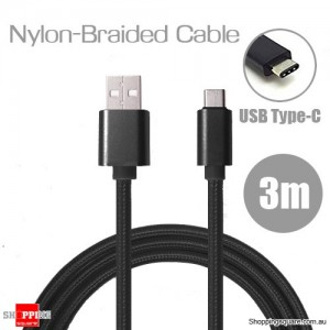 3m Nylon Braided USB Type C Charging Cable for Google Pixel Nexus 5X LG G5 Nokia N1 HTC 10 Black Colour