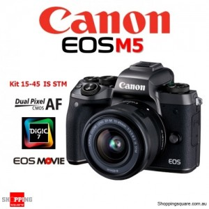 Canon EOS M5 Kit EF-M 15-45 IS STM Mirrorless Digital Camera DSLR 24.2MP Full HD Black