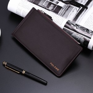 "Universal Men Vertical PU Dual Zippers Multi-slot Wallet Bag For 5.5"" Smartphone Coffee Colour"