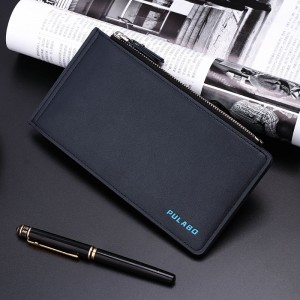 "Universal Men Vertical PU Dual Zippers Multi-slot Wallet Bag For 5.5"" Smartphone Dark Blue Colour"
