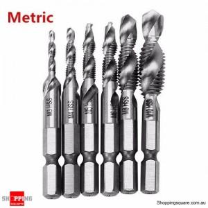 6PCS HSS 1/4 Inch Hex Shank Drill Tap Bit Deburr Countersink Set Combination - Metric