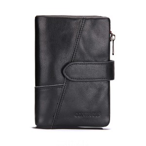 Genuine Leather Wallet Vintage Standstone Men Wallets Male Purse Coin Bag Black Colour