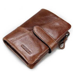Genuine Leather Wallet Vintage Standstone Men Wallets Male Purse Coin Bag Brown Colour