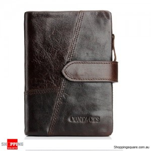 Genuine Leather Wallet Vintage Standstone Men Wallets Male Purse Coin Bag Coffee Colour