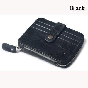 Men Women Genuine Leather Coin Bag Wallet Cowhide Card Holder Black Colour