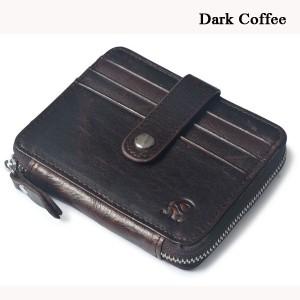 Men Women Unisex Genuine Leather Coin Bag Wallet Cowhide Card Holder Dark Coffee Colour