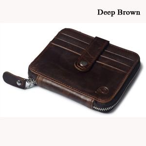 Men Women Unisex Genuine Leather Coin Bag Wallet Cowhide Card Holder Deep Brown Colour