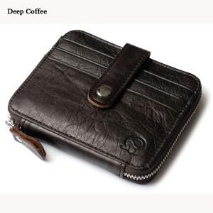 Men Women Unisex Genuine Leather Coin Bag Wallet Cowhide Card Holder Deep Coffee Colour