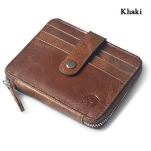 Men Women Unisex Genuine Leather Coin Bag Wallet Cowhide Card Holder Khaki Colour