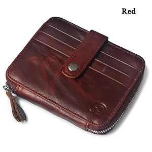 Men Women Unisex Genuine Leather Coin Bag Wallet Cowhide Card Holder Red Colour