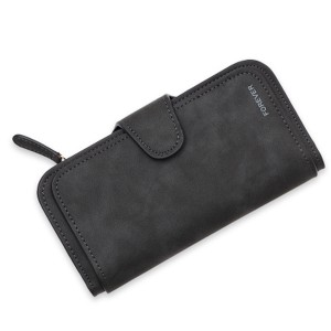 Women 14-Card-Slot PU Wallet Purse Card Phone Bag Black Colour
