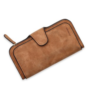 Women 14-Card-Slot PU Wallet Purse Card Phone Bag Brown Colour