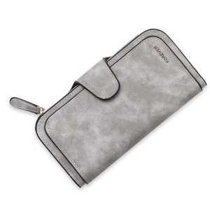 Women 14-Card-Slot PU Wallet Purse Card Phone Bag Grey Colour