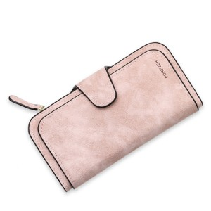 Women 14-Card-Slot PU Wallet Purse Card Phone Bag Pink Colour
