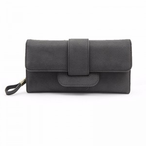 Women Fashion Large Capacity PU Multi-slots Button Hand Wallet Bag For 5.5-inch Smartphone Black Colour