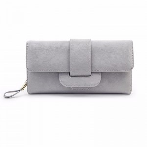 "Women Fashionable Large Capacity PU Multi-slot Button Hand Wallet Bag For 5.5"" Smartphone Grey Colour"