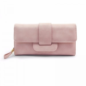 "Women Fashionable Large Capacity PU Multi-slot Button Hand Wallet Bag For 5.5"" Smartphone Pink Colour"