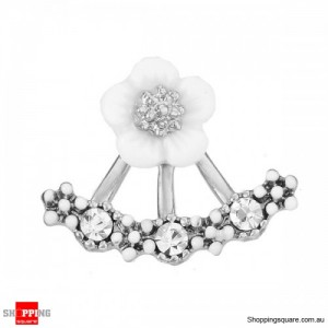 Women's Cute 925 Silver Daisy Flower Crystal Needle Ear Stud Earrings Silver Colour