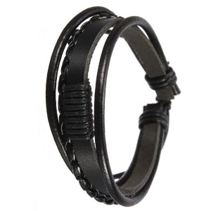 Men's 4 Rounds Stylish Woven Surf Leather Bracelet Wristband Black Colour