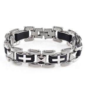 Men's Stylish Stainless Steel Rubber Crucifix Bracelet Bangle Silver Black Colour