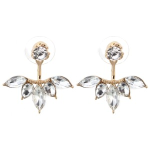 Women's Elegant Silver Gold Plated Zircon Leaf Ear Stud Earrings Jewellery Gold Colour