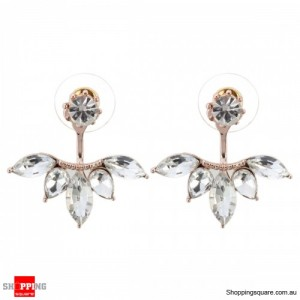 Women's Elegant Silver Gold Plated Zircon Leaf Ear Stud Earrings Jewellery Rose Gold Colour