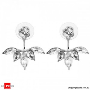 Women's Elegant Silver Gold Plated Zircon Leaf Ear Stud Earrings Jewellery Silver Colour