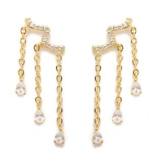 Women's 925 Sterling Silver Water Drop Crystal Zircon Tassel Earrings Jewellery Gold Colour