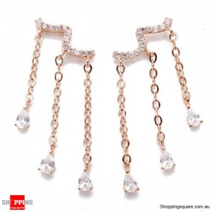 Women's 925 Sterling Silver Water Drop Crystal Zircon Tassel Earrings Jewellery Rose Gold Colour