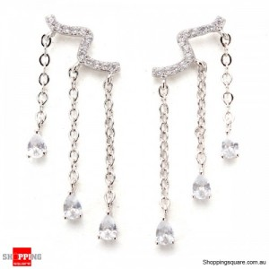Women's 925 Sterling Silver Water Drop Crystal Zircon Tassel Earrings Jewellery Silver Colour