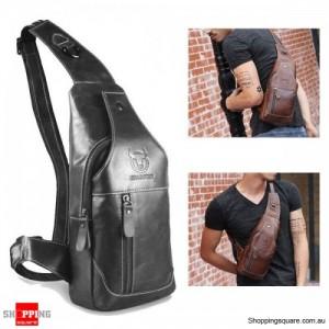 Men's Cowboy Genuine Leather Business Casual Shoulder Crossbody Bag - Black Colour