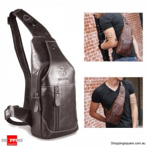 Men's Cowboy Genuine Leather Business Casual Shoulder Crossbody Bag - Deep Grey Colour