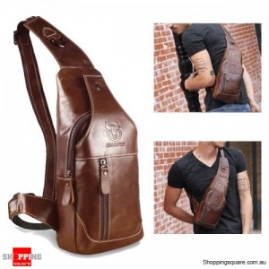 Men's Cowboy Genuine Leather Business Casual Shoulder Crossbody Bag - Brown Colour