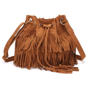 Women's Ladies' Stylish Tassel Drawstring Chain Bucket Shoulder Bag Handbag - Brown Colour