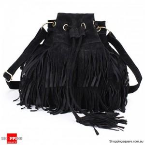 Women's Ladies' Stylish Tassel Drawstring Chain Bucket Shoulder Bag Handbag - Black Colour