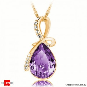 Women's Water Drop Rhinestone Crystal Pendant Necklace Gold & Purple Colour