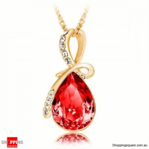 Women's Water Drop Rhinestone Crystal Pendant Necklace Gold & Red Colour