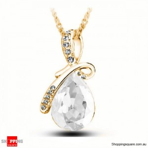 Women's Water Drop Rhinestone Crystal Pendant Necklace Gold & White Colour