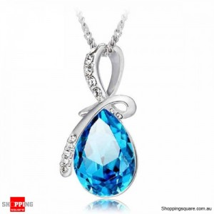 Women's Water Drop Rhinestone Crystal Pendant Necklace Silver & Ocean Blue Colour